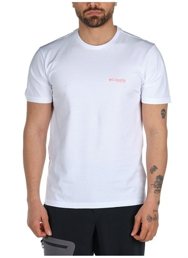 Columbia Columbia Erkek Beyaz Bisiklet Yaka T-Shirt Beyaz